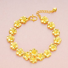 Lady Golden Flower Ring Set Brass Plated Flower Necklace Bracelet Set Wedding Jewelry Accessories LXH(China)