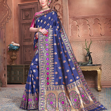 India Saree Ethnic Style Female Silk Embroidered Traditional Dress Include