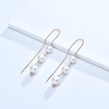 Gn pérola 925 prata gota linha brincos gnpearl genuien 5-8mm branco natural de água doce pérola brincos jóias finas para presente feminino