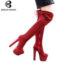 BONJOMARISA 33-43 Party Sexy Shining Thigh High Boots Women 2019 Winter Platform Over Knee Lady Heel Shoes Woman