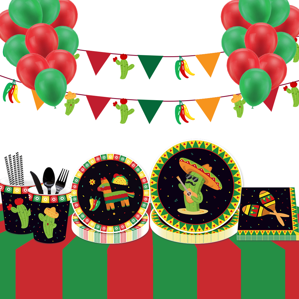 Mexican-Party-Decorations-Cinco-De-Mayo-Party-Balloons-Hanging-Swirls-Party-Disposable-Tableware-Sets-Birthday-Party