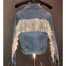 Luxury Women Fashion Cool Short Blue Denim Jackets Silver Bling Rhinestone Cryst