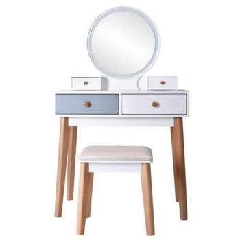 Dresser With Mirror Bedroom Light Luxury Real Wood Dressing Table Simple Makeup Table With Lamp Three Color Adjustable 1