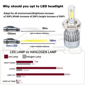 Image 4 - 2Pcs Led אוטומטי LED פנס נורות Hi Lo קרן 72W 7800LM 6500K IP65 אוטומטי פנס Led אורות DC 12v 24V נהיגה אורות הנורה led