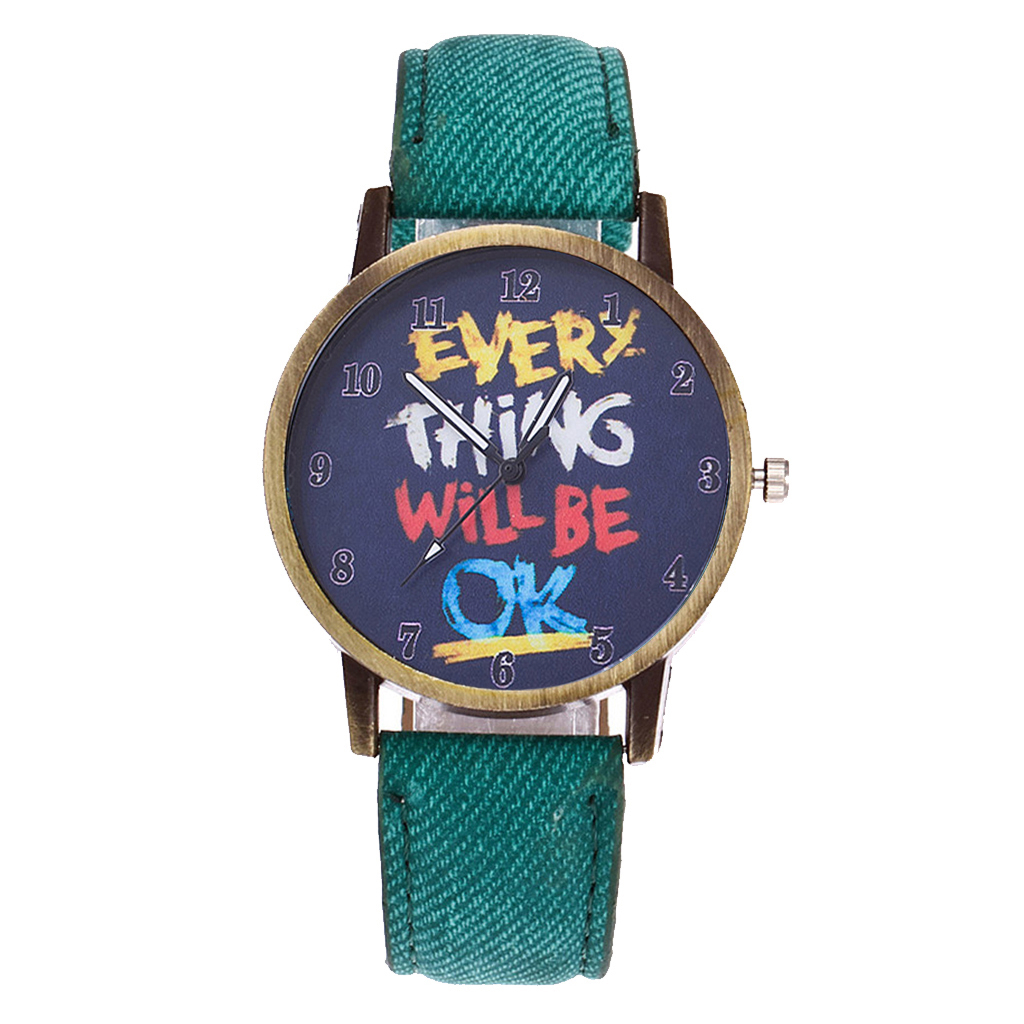 Vansvar Brand Vintage Women Leather Everything Will Be OK Watch Fashion Casual Women Wristwatches Relogio Feminino