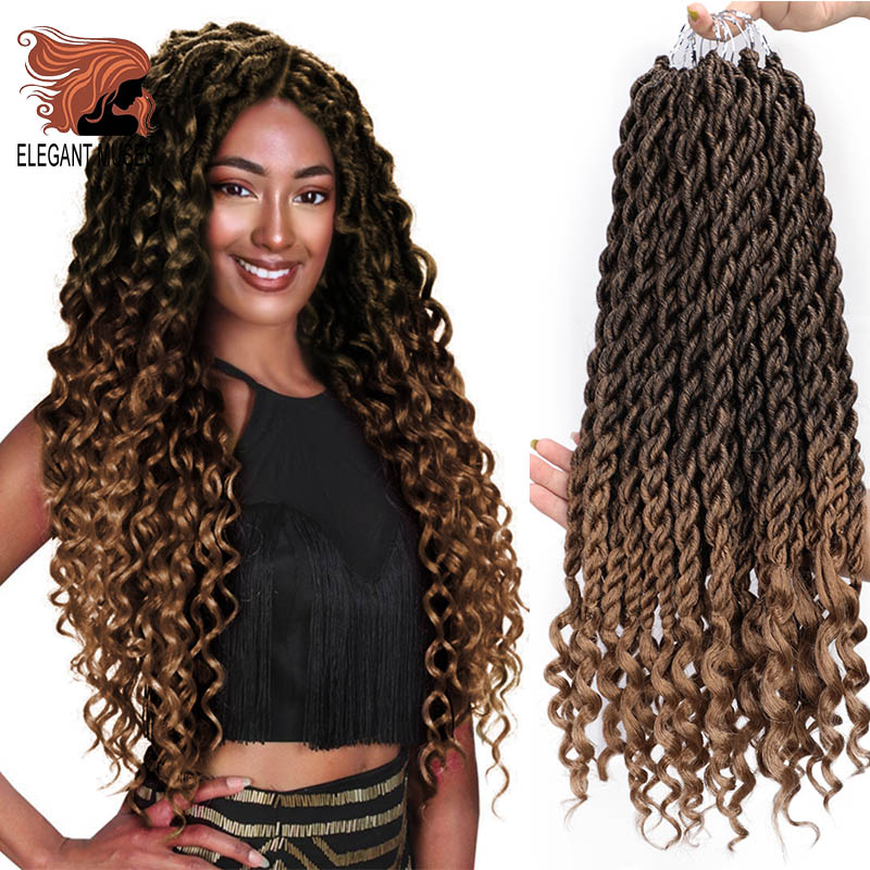 ELEGANT MUSES Bohemian Crochet Braids Faux Locs Curly Crochet Hair 18inch 24 Strands Ombre Braiding Extensions Synthetic Hair