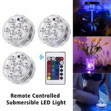 13 LED zdalnie sterowany światło podwodne IP68 wodoodporny RGB Multicolor zatapialne wazon dekoracja światło basen magnes lampa