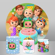 Baby Shower พื้นหลังวงกลมรอบฉากหลังการ์ตูน Cocomelon เด็กวันเกิด Party Decor ตารางแผงแบนเนอร์
