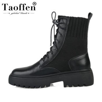 Taoffen Women Genuine Leather Ankle Boots Casual Flats Riding Boots Platform Comfortable High Quality Shoes Woman Size 34-40