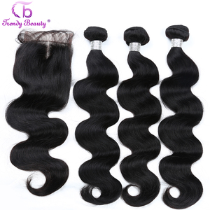 Image 4 - Brazilian Body Wave Human Hair 3/4 Bundles With 4x4 Lace Closure Middle/Free/Three  Non Remy Free Shipping Trendy Beauty Hair