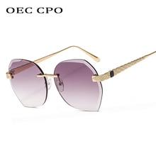 OEC CPO Fashion Lady Rimless Sunglasses Women Vintage Alloy Frame Unisex Square Sun glasses Female Beach Party Glasses O221