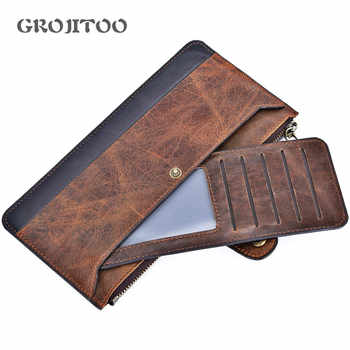 Mingshi new leather men\'s long wallet leisure business first layer cowhide men\'s bag thin handbag