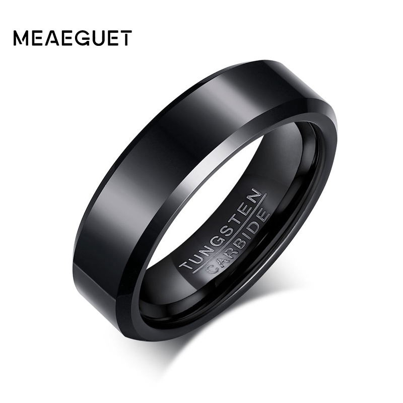 Meaeguet Solid Black Color Pure Tungsten Carbide Rings Engagement Wedding Rings For Men Rings Jewelry