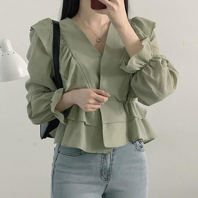 Ezgaga Women Blouse Korean Chic Sweet Solid V-Neck Ruffled Long Sleeve Slim Waist Tender Crop Tops Fashion Shirts Elegant 3