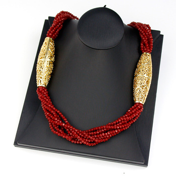 Sunspicems 2021 Gold Color Crystal Beaded Necklace For Women Morocco Wedding Jewelry Arab Handmade Natural Stone Choker Bijoux 1