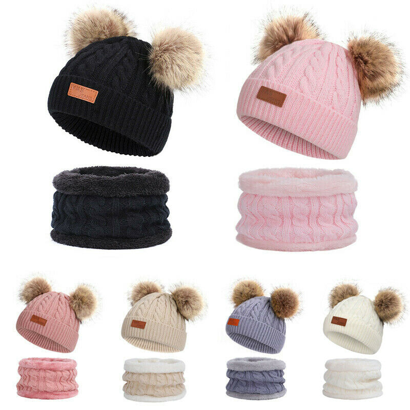 Cute 2PCS Toddler Baby Boys Girls Hat And Scarf Cap With Scarf Knitting Cotton Set Knitted Baby Beanie Hat+Scarf Set