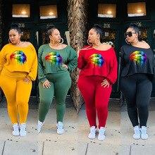 Plus Size L-4XL Autumn Women's Set Winter Mouth Print Full Sleeve Top Pencil Pants Suit Two Piece Set Tracksuit Outfits GLDM140