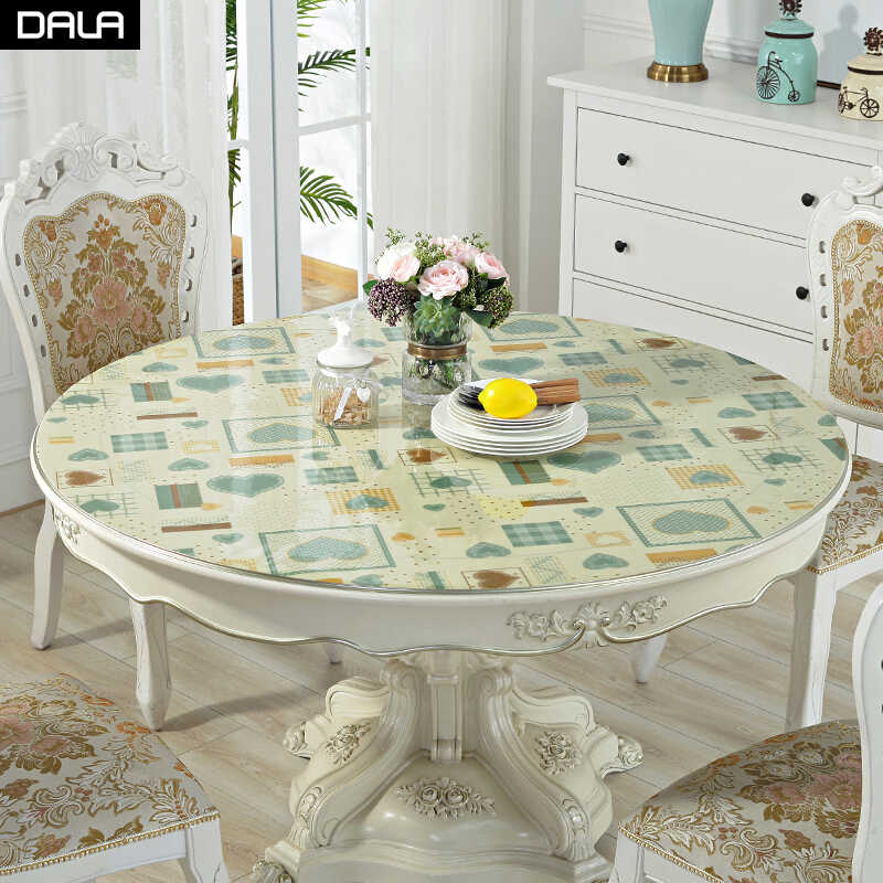 Dala Round Pvc Tablecloth Waterproof Table Protector Kitchen Dining Table Cover Soft Glass Table Cover Mat For Round Table Tablecloths Aliexpress