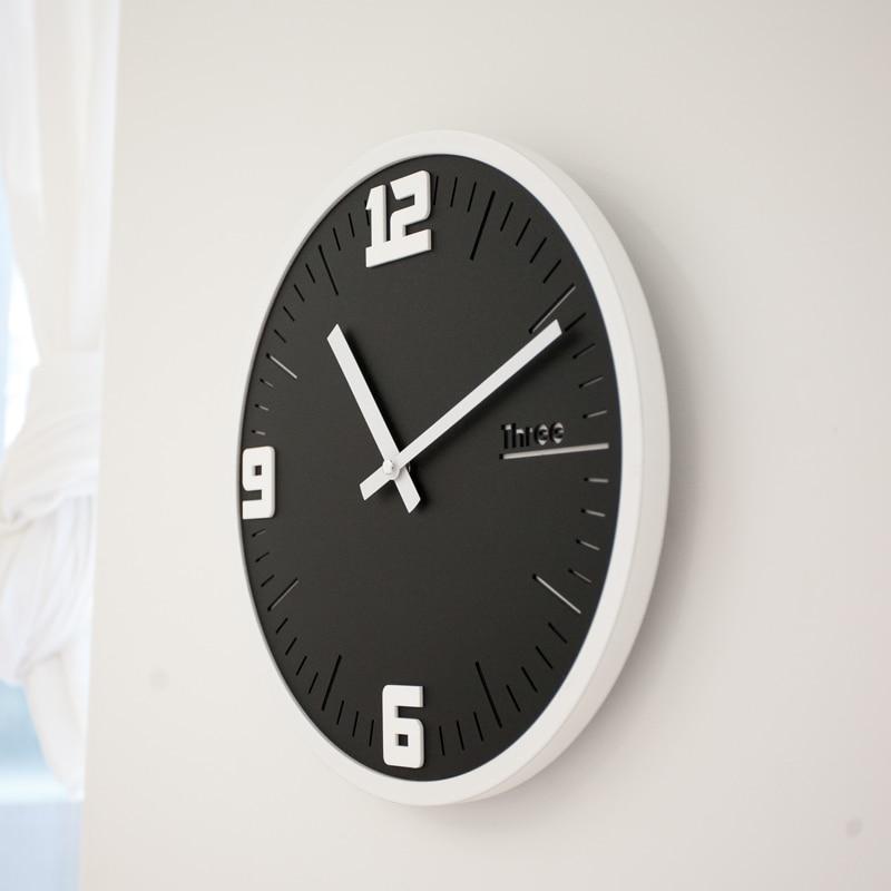 Mandelda 12 дюймов круглые деревянные рамки классические часы ретро не тикающие 3D кварцевые домашние декоративные настенные часы акриловые стр... - 3