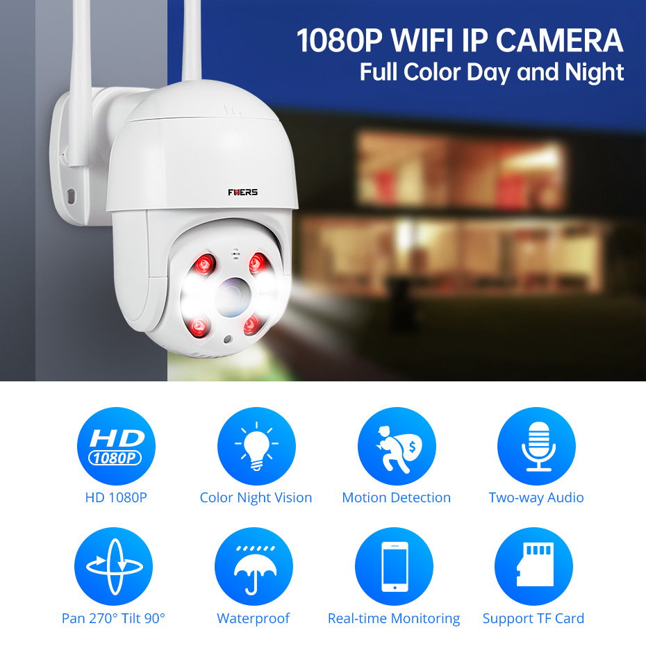 FUERS 1080P Outdoor Camera PTZ IP Camera Security Speed Dome CCTV Surveillance WIFI P2P Cloud Night Vision Motion Detection