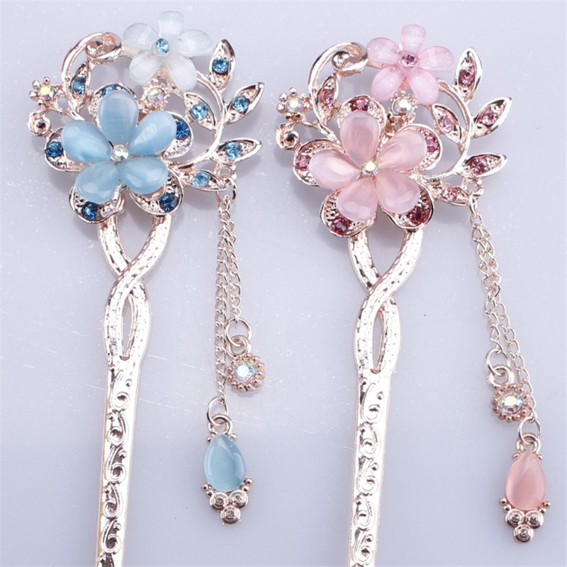 Wholesale Cat Eye Stone Hair Pin Double Flower Hair Clip Classical Hairpin Barrette Hair Accessories National Wind Headweard