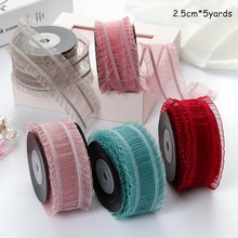 2.5cm  Pleated Ribbon Flower Gift Wrap Floral Hair Accessories Skirt Yarn Ribbon