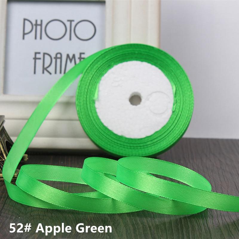 25 ярдов/рулон 6 мм 10 мм 15 мм 20 мм 25 мм 40 мм 50 мм шелковые атласные ленты для рукоделия бант ручной работы подарочная упаковка вечерние свадебные декоративные - Цвет: 52 Apple green