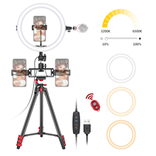 Ring-Light Neewer Tripod-Stand Makeup Soft-Tube 3-Phone-Holders Selfie with for Remote-Kit