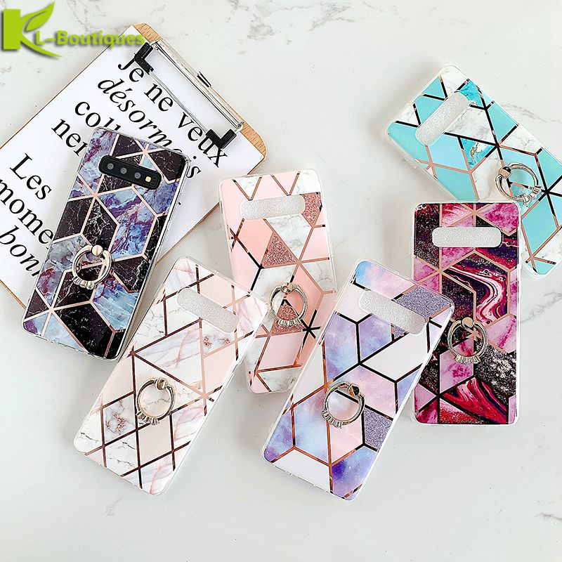 Case For Coque Samsung Galaxy S10 S10e S8 S9 Plus Note 10 Plus A10 20 30 50 70 Case Cover Geometric Marble Phone Case Ring Stand image