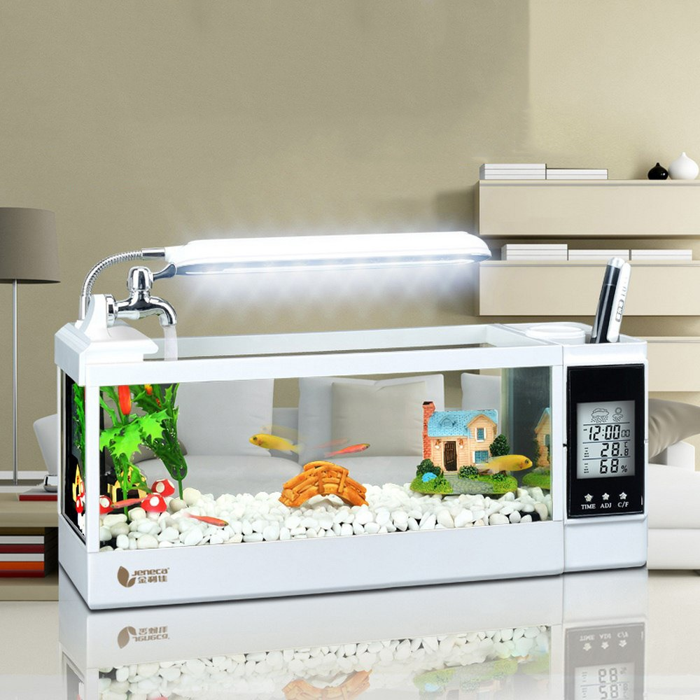 LED Light Aquarium Multifunction Clock Fish Bowl Creative Mini Eco Small Office Desktop Landscape Glass Goldfish Building block image