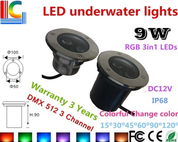 DMX512 Control RGB 3in1 9W RGB LED Underwater Lights IP68 Waterproof CE RoHS Outdoor Pond Lamps Color change Fountain Lamp