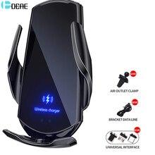 Беспроводное Автомобильное зарядное устройство с креплением 15 Вт Qi, автоматический зажимной держатель для телефона с вентиляционным отвер...