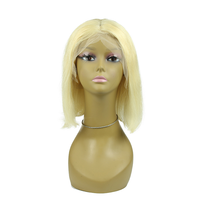 13x6 613 Blonde Brazilian Straight Human Hair Bob Wigs 8 - 16 Inch Remy Short Bob Lace Front Wigs For Black Women