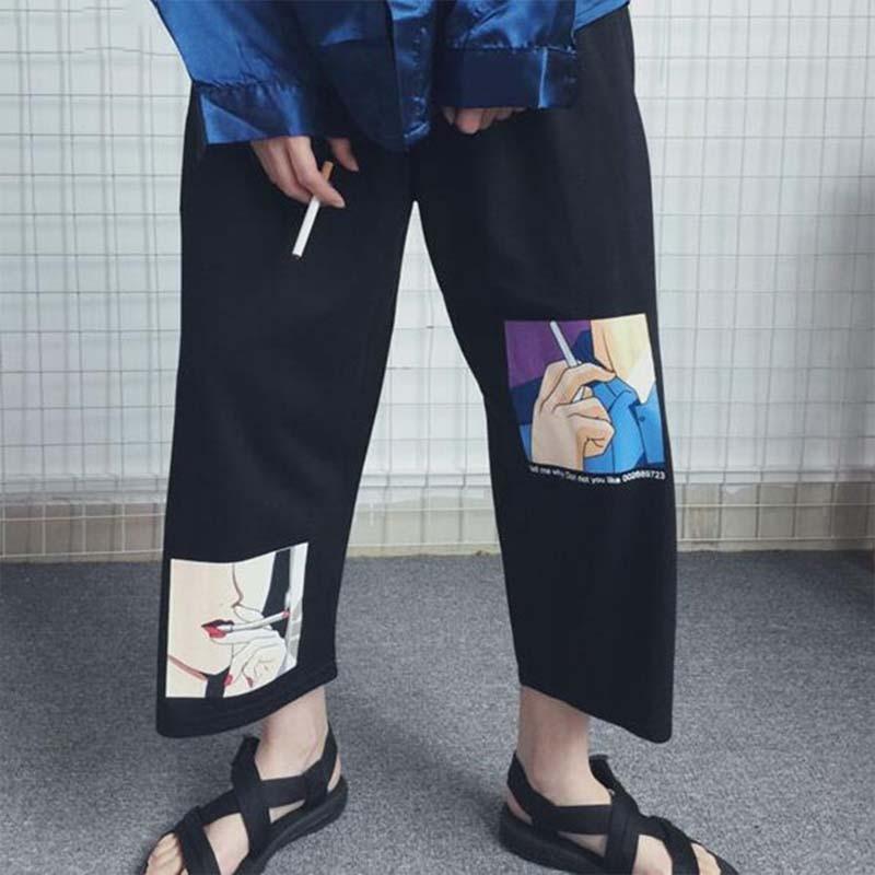 Loose Pants Women Japanese Streetwear Wide Leg Pants Cartoon Graphic Print Trousers 2020 Summer Prepple Style Straight Pants