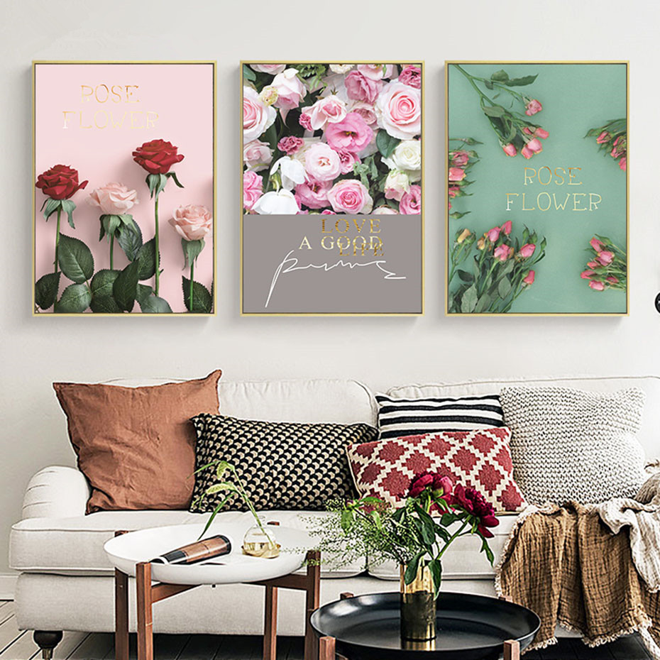 Pink Romantic Rose Flower Landscape Wall Art Canvas Painting Modern Love Quote Poster And Print Living Room Bedroom Home Decor