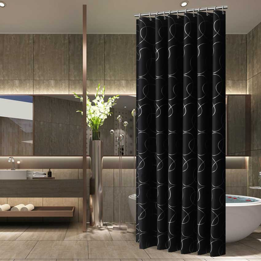 現代シャワーカーテン幾何花漫画バスカーテンコルティーナ防水ポリエステル浴室用 12 個のプラスチックフック