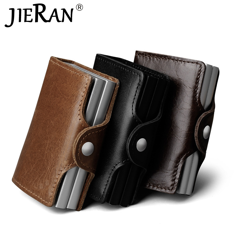 Cardholder Thin Twin Metal RFID Blocking Leather Business ID Credit Card Holder Wallet Double Aluminium Case Wallet Mini Purse