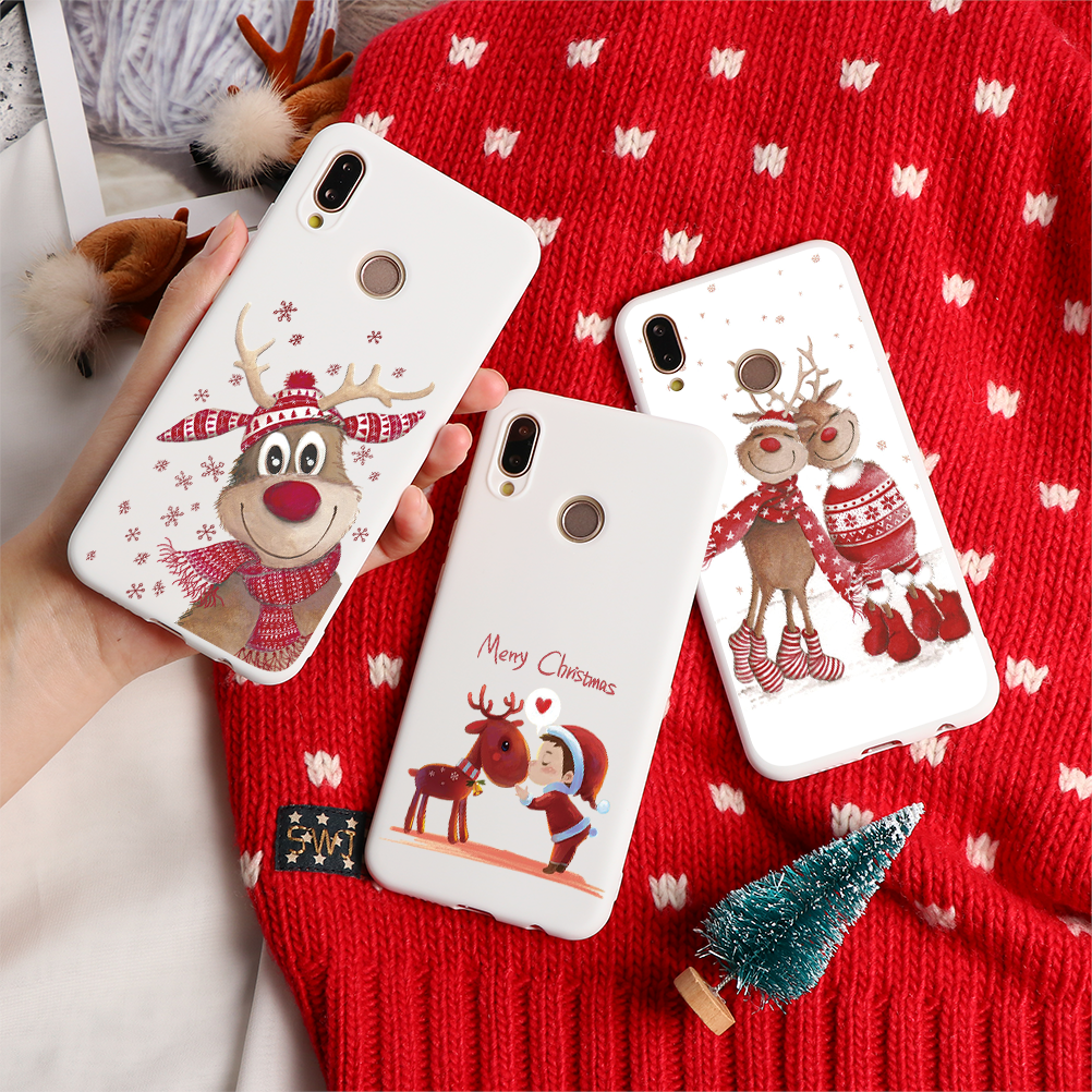 Christmas Cartoon Elk Phone Case For <font><b>Huawei</b></font> Mate 10 20 30 Lite P8 P9 P10 P20 P30 Lite Mini <font><b>2017</b></font> P Smart <font><b>Y6</b></font> Y7 Pro 2019 TPU Cover image