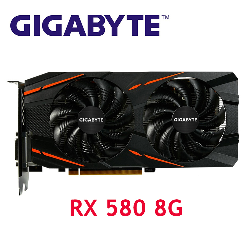 GIGABYTE RX 580 8GB Gaming Graphics Cards GPU RX580 8GB Video Card Computer Game For AMD Video Cards Map HDMI PCI E Used|Graphics Cards|   - AliExpress