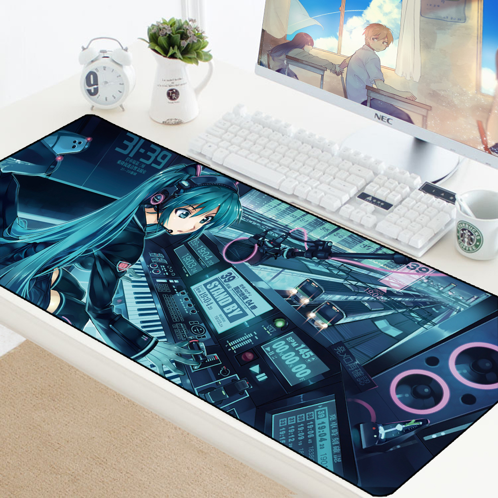 <font><b>Mouse</b></font> Pad Anime Large Edge Anime Anti-slip Rubber Pad Gamer <font><b>Gaming</b></font> <font><b>Mousepad</b></font> <font><b>Keyboard</b></font> Computer Mats Hatsune Miku Speed Play Mat image