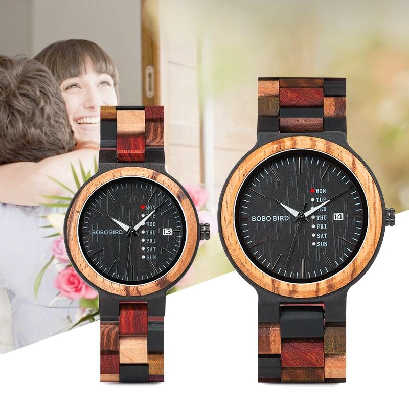 Couple Watches Wooden-Band Logo P14 Customize Bobo Bird Quartz Men Women Date Week Timepiece