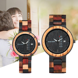 BOBO BIRD P14  Wood Watch Lover Couple Watches Men Women Quartz Week Date Timepiece Colorful Wooden Band logo Customize Gitfs