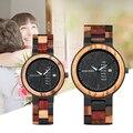 Bobo pássaro p14 relógio de madeira amante casal relógios das mulheres dos homens quartzo semana data relógio colorido banda de madeira logotipo personalizar gitfs