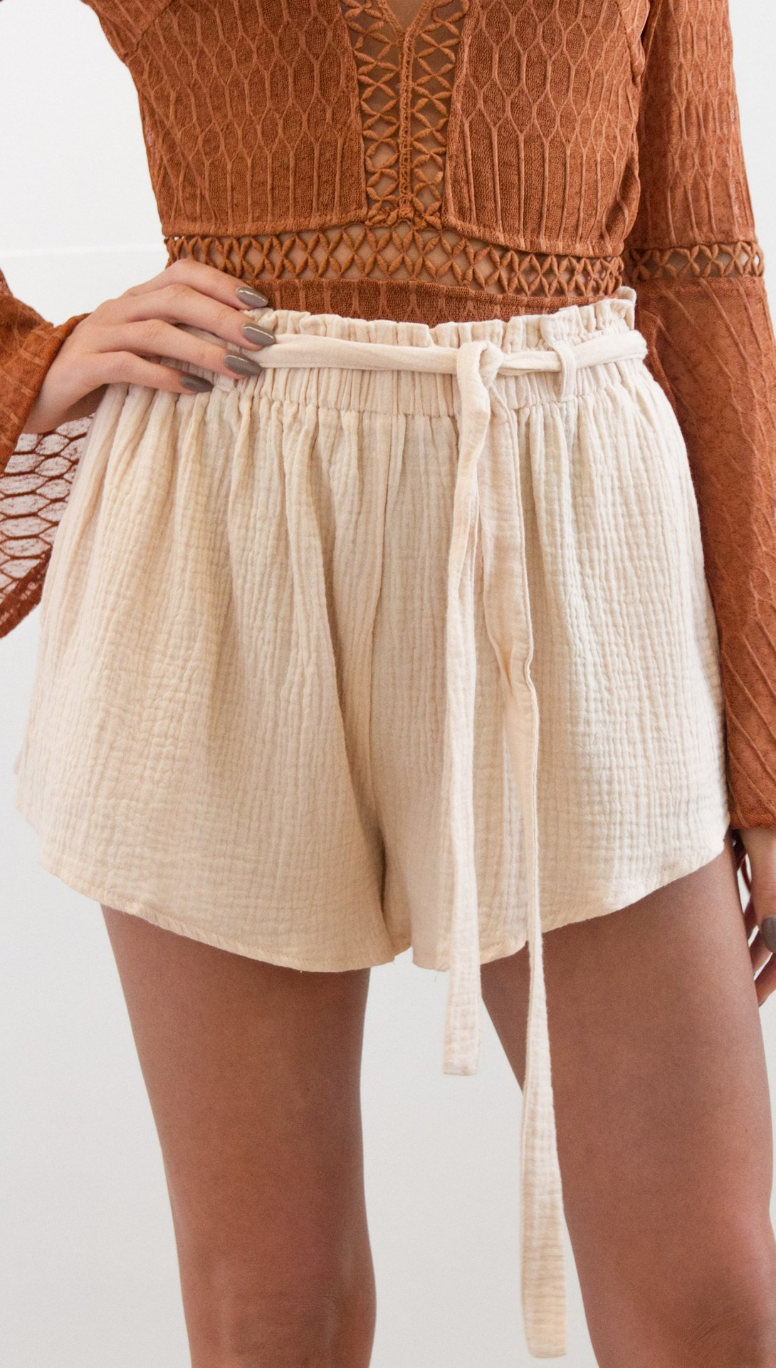 Pop Tide Nice Fashion Women Lace Up Casual Shorts Belt Solid Loose Shorts Sashes Elastic High Waist Summer Shorts