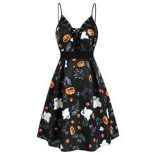 Dress 2019 Women Fashion New Halloween Pumpkin  Print Lace Up 8.15