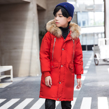 Fashion Winter Warm 90% White Duck Down Long Child Coat Real Fur Children Outerwear Boys Down Jackets Kids Outfits For 110-170cm