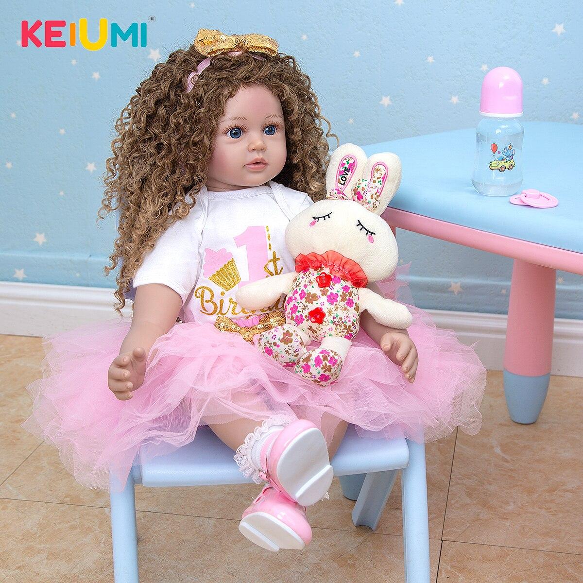 Chegam novas 60 cm bonecas reborn menina cabelo longo lifelike macio silicone pano corpo recém-nascido boneca brinquedos crianças aniversário presente de natal