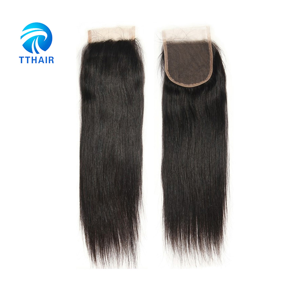 TTHAIRHair 4x4 Lace Closure Peruvian Human Hair Body Wave Pre-plucked Hair Line Closure With Baby Remy Hair Natural Color