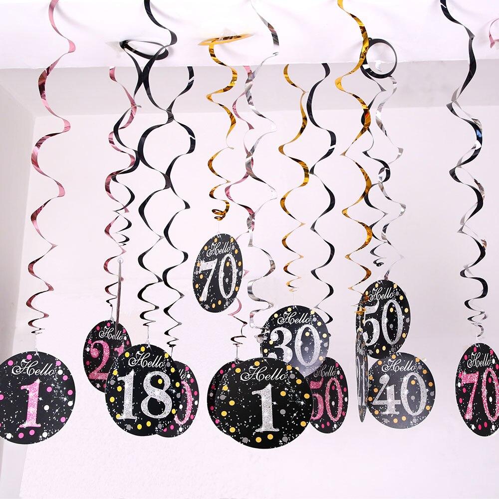 6 pçs pvc espiral feliz aniversário redemoinho 18 21 30 40 50 60 70 anos de idade ornamentos de suspensão decoração da festa de aniversário