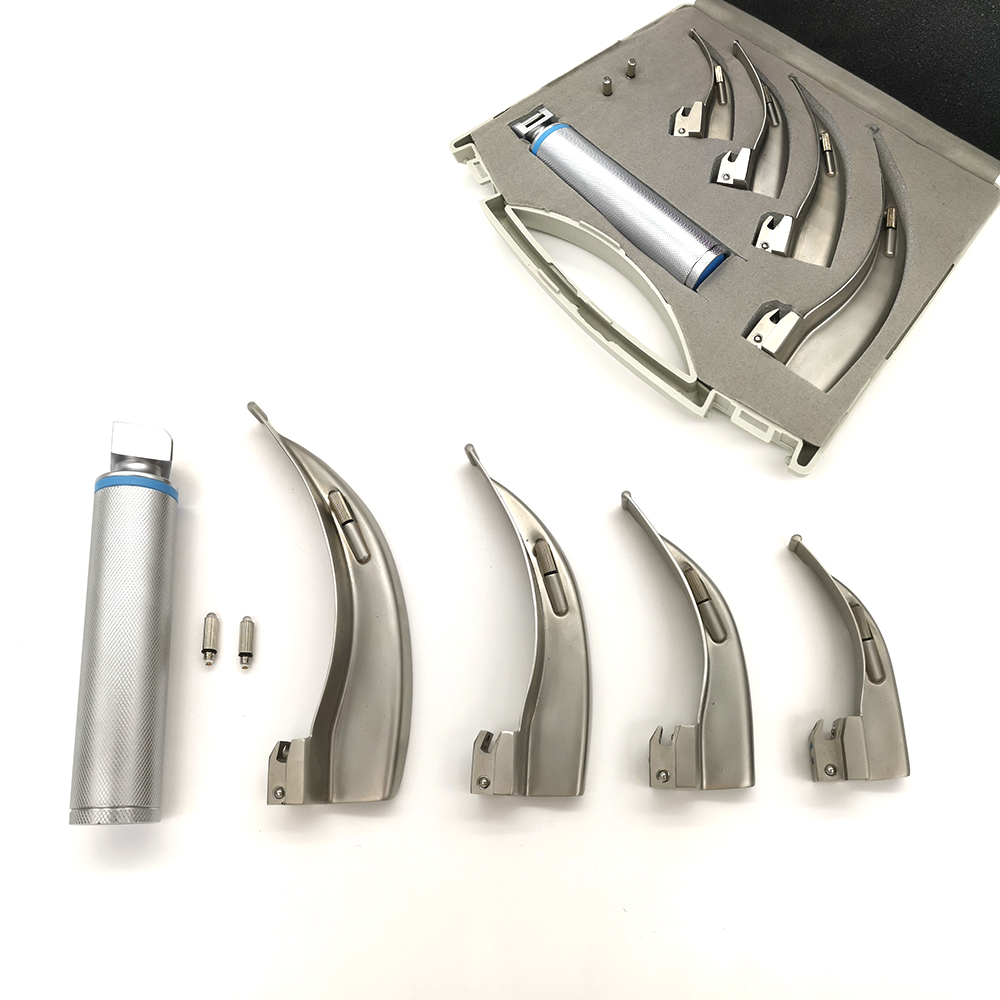 Factory Direct Stainless Steel Laryngoscopes 4 Blades Led Optic Illumination Surgical Instruments